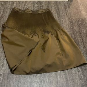 NWT Anthropologie Olive Gold Pleated Bell Skirt